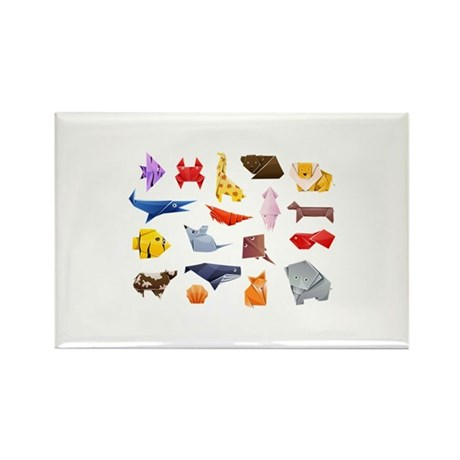 Origami Animals Rectangle Magnet (10 pack)