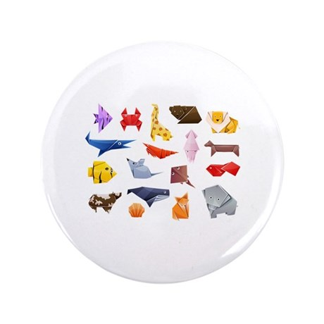 "Origami Animals 3.5"" Button (100 pack)"