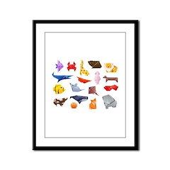 Origami Animals Framed Panel Print