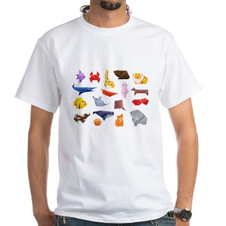 Origami Animals White T-Shirt