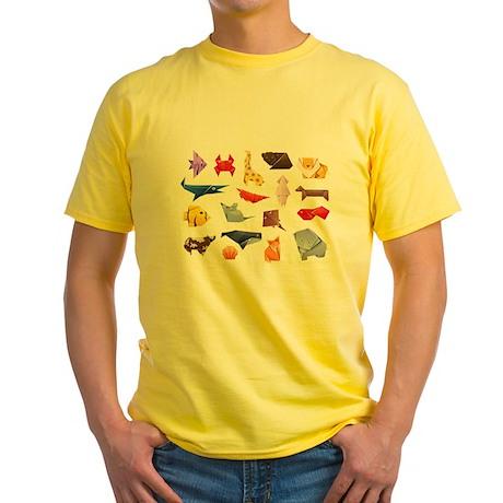 Origami Animals Yellow T-Shirt