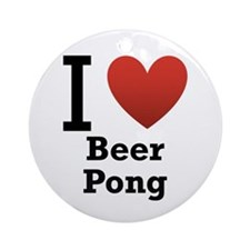I Love Beer Pong Ornament (Round)
