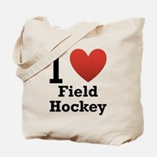 I Love Field Hockey Tote Bag