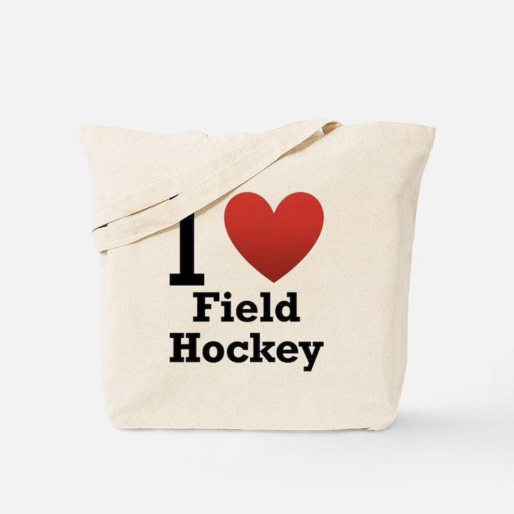 I Love Field Hockey Tote Bag