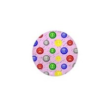 Bingo Ball Pink Mini Button