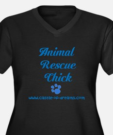 Animal Rescue Chick Women's Plus Size V-Neck Dark