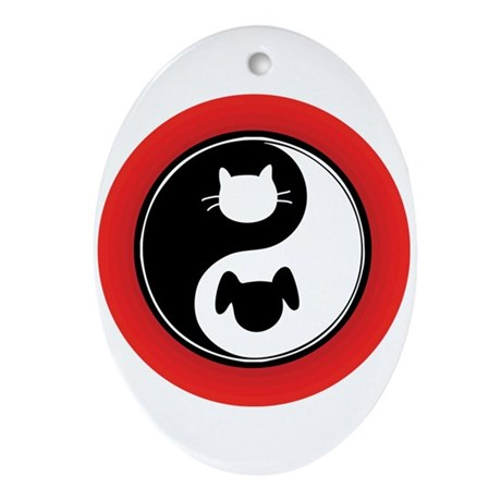 Yin Yang Cat Dog Ornament (Oval)
