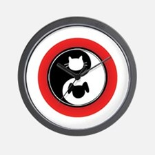 Yin Yang Cat Dog Wall Clock
