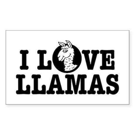 I Love Llamas Sticker (Rectangle)