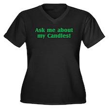 Candles Women's Plus Size V-Neck Dark T-Shirt