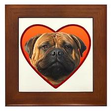 Valentine's Bullmastiff Framed Tile