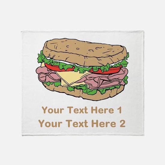 Sandwich. Custom Text. Throw Blanket