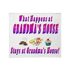 What Happens At Grandma's House Throw Blanket