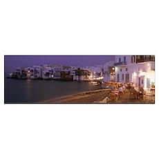 Little Venice Mykanos Greece Poster