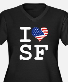 I LOVE SF - SAN FRANCISCO Women's Plus Size V-Neck