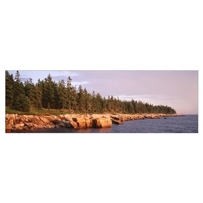 Maine, Acadia National Park, Rocks along a lake Poster