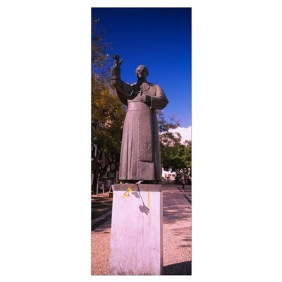 Low angle view of a statue, Pope John Paul II, Fun Framed Print