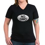 NO GMO Oval Women's V-Neck Dark T-Shirt
