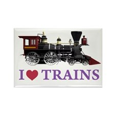 I LOVE TRAINS Rectangle Magnet (10 pack)