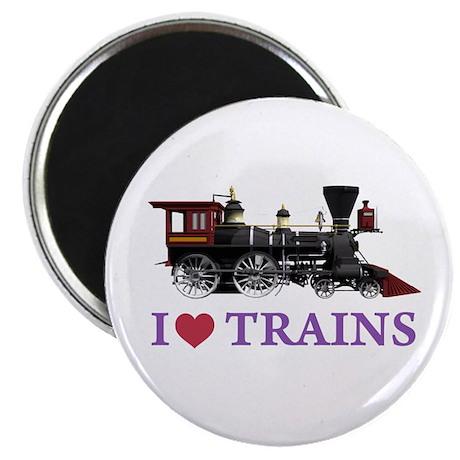 "I LOVE TRAINS 2.25"" Magnet (10 pack)"