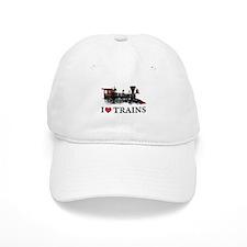I LOVE TRAINS Baseball Baseball Cap
