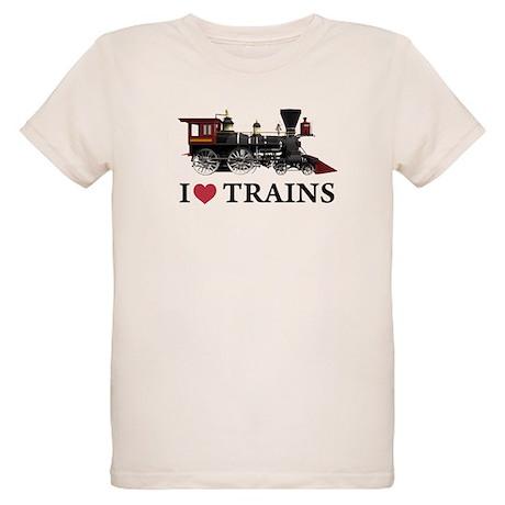I LOVE TRAINS Organic Kids T-Shirt