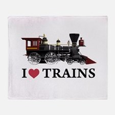 I LOVE TRAINS Throw Blanket