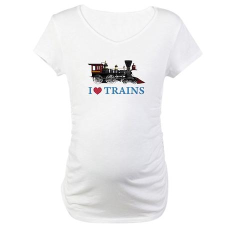 I LOVE TRAINS Maternity T-Shirt
