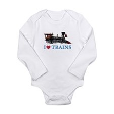 I LOVE TRAINS Long Sleeve Infant Bodysuit
