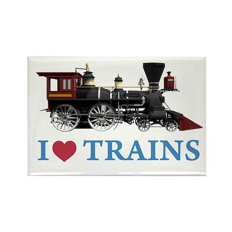 I LOVE TRAINS Rectangle Magnet (10 pack)