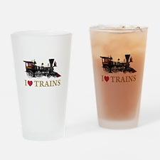 I LOVE TRAINS Drinking Glass