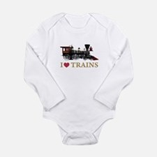 I LOVE TRAINS Long Sleeve Infant Bodysuit