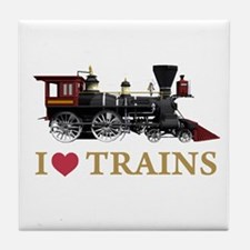 I LOVE TRAINS Tile Coaster