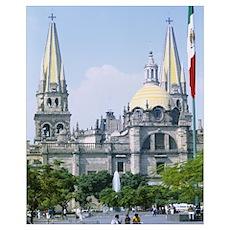 Facade of a cathedral, Liberation Plaza, Guadalaja Poster