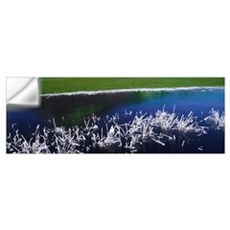 High angle view of snow covered grass at a lakesid Wall Decal