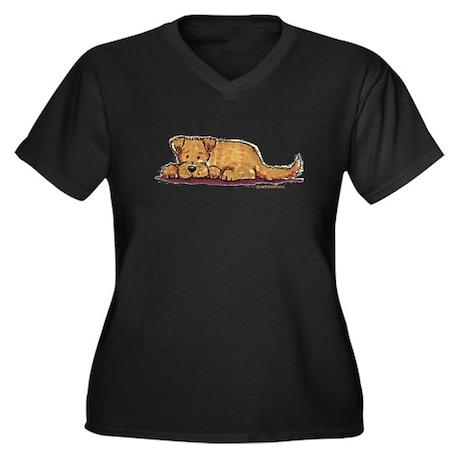 Little Dog Women's Plus Size V-Neck Dark T-Shirt