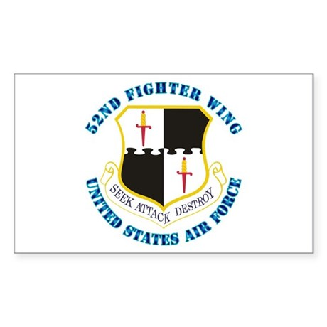 52nd Fighter Wing with Text Sticker (Rectangle)