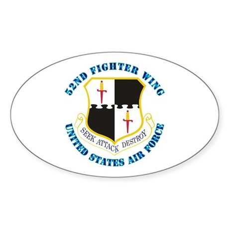52nd Fighter Wing with Text Sticker (Oval)