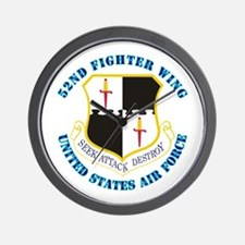 52nd Fighter Wing with Text Wall Clock