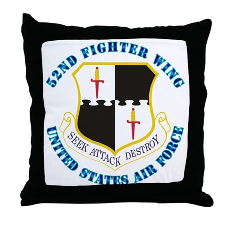 52nd Fighter Wing with Text Throw Pillow