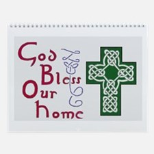 Cute Celtic hand drawn blessing w cross Wall Calendar