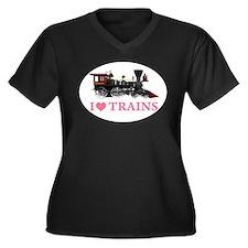 I LOVE TRAINS Women's Plus Size V-Neck Dark T-Shir