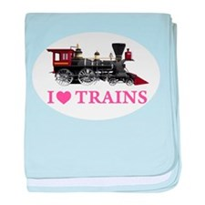 I LOVE TRAINS baby blanket