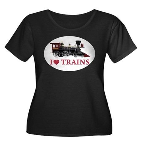 I LOVE TRAINS Women's Plus Size Scoop Neck Dark T-