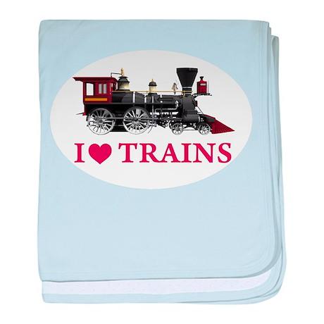 I LOVE TRAINS baby blanket
