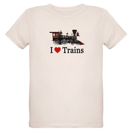 I LOVE TRAINS Organic Kids T-Shirt