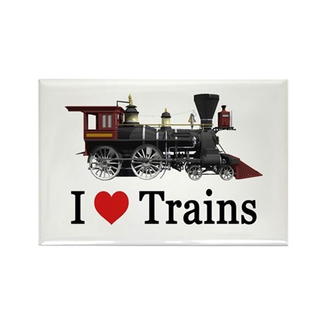 I LOVE TRAINS Rectangle Magnet (100 pack)