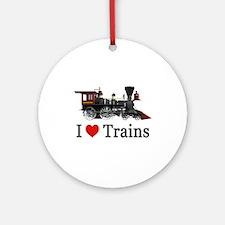 I LOVE TRAINS Ornament (Round)