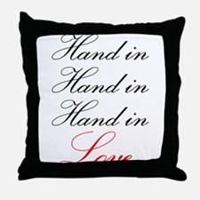 hand in hand in hand in love Throw Pillow