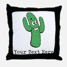 Desert Cacti. Custom Text. Throw Pillow